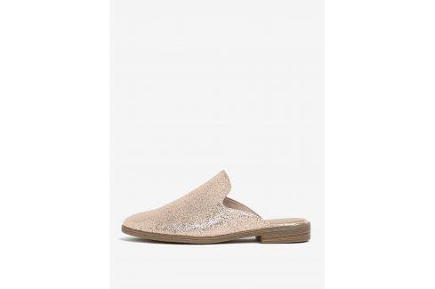 Růžovozlaté lesklé pantofle Tamaris pantofle, žabky