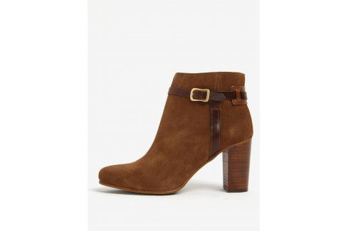 Světle hnědé dámské kožené kotníkové boty na podpatku GANT Alma Boty