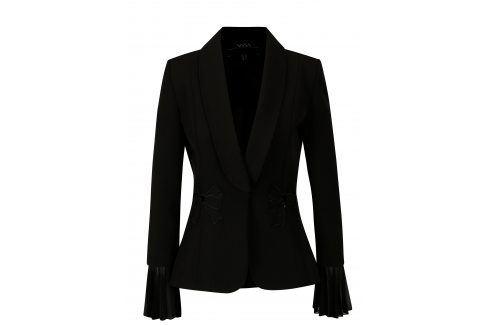 Černé sako s nášivkami NISSA Bundy, kabáty
