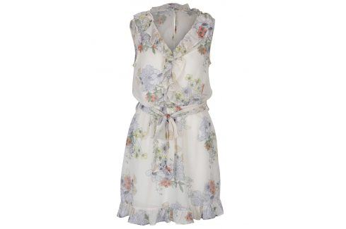 Krémové květované šaty s volány Miss Selfridge šaty na denní nošení