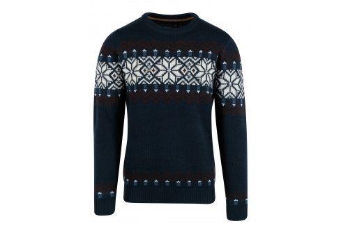 Tmavě modrý slim fit svetr s norským vzorem a příměsí vlny Blend svetry