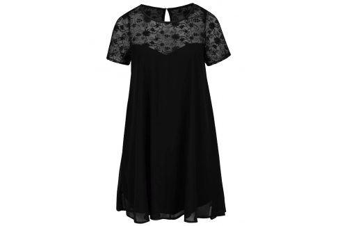Černé plus size šaty s průsvitným květovaným sedlem Goddiva Móda pro plnoštíhlé