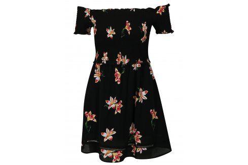 Černé květované šaty s odhalenými rameny Miss Selfridge šaty na denní nošení