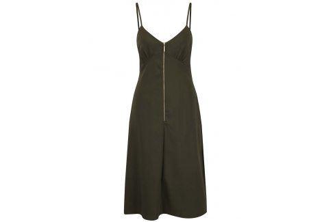 Khaki šaty na ramínka se zipem Closet šaty na denní nošení