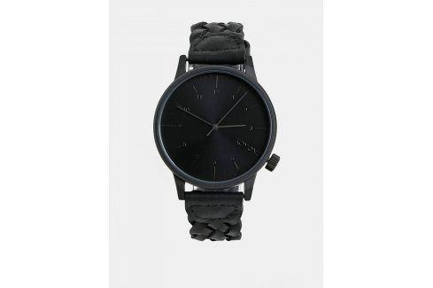 Černé pánské hodinky Komono s koženým páskem Harlow Hodinky