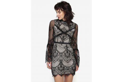Černo-béžové krajkové šaty MISSGUIDED společenské šaty
