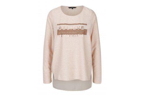 Světle růžové žíhané tričko s potiskem VERO MODA Sasha trička s dlouhým rukávem