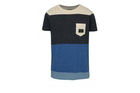Šedo-modré klučičí modern fit tričko s kapsou Quiksilver trička s krátkým rukávem
