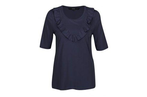 Tmavě modré tričko s volány VERO MODA Maria trička s krátkým rukávem