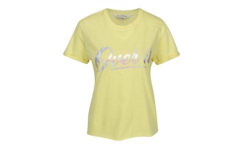 Žluté tričko s potiskem Miss Selfridge trička s krátkým rukávem