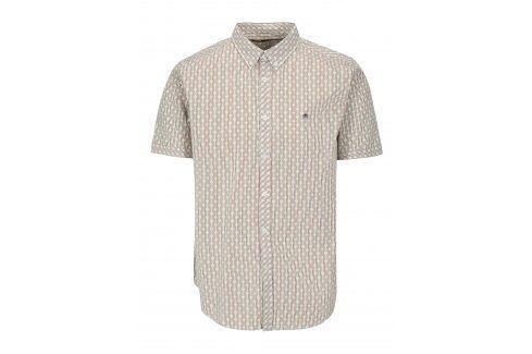 Krémová vzorovaná košile s krátkým rukávem Merc neformální