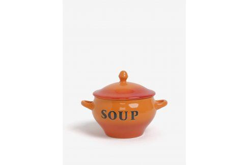 Oranžová keramická miska se lžičkou na polévku CGB misky a talíře