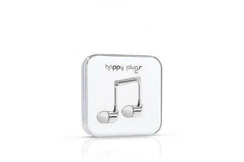 In-ear sluchátka v stříbrné barvě Happy Plugs sluchátka