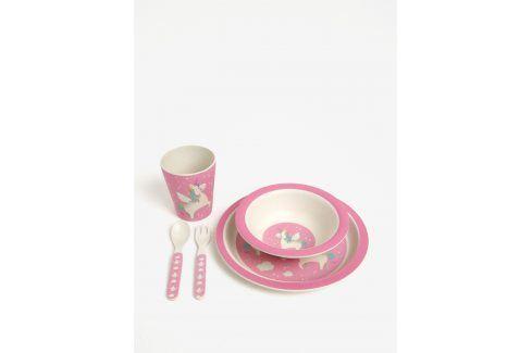 Růžový dětský jídelní set z eko plastu Sass & Belle misky a talíře