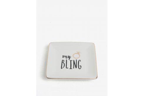 Krémový talířek na odkládání šperků s potiskem CGB My Bling doplňky do koupelny