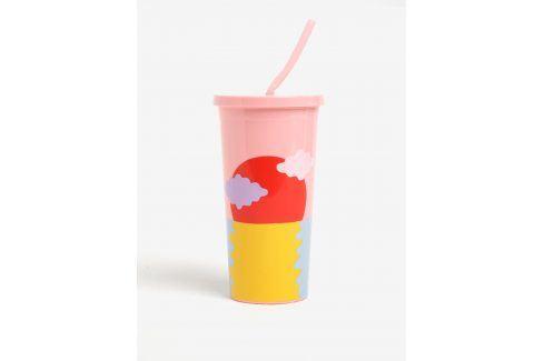 Modro-růžový cestovní hrnek s brčkem ban.do Happy hour 590 ml pití a jídlo s sebou