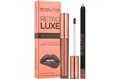 Makeup Revolution Retro Luxe metalická sada na rty odstín Sovereign 5,5 ml Konturovací tužky na rty