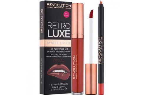 Makeup Revolution Retro Luxe matná sada na rty odstín Regal 5,5 ml Konturovací tužky na rty