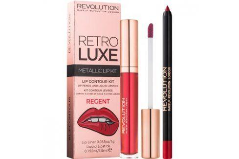 Makeup Revolution Retro Luxe metalická sada na rty odstín Regent 5,5 ml Konturovací tužky na rty