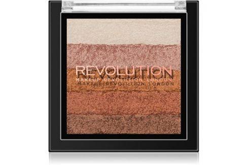 Makeup Revolution Shimmer Brick bronzer a rozjasňovač 2v1 odstín Bronze Kiss 7 g Tvářenky