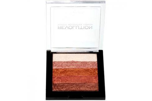 Makeup Revolution Shimmer Brick bronzer a rozjasňovač 2v1 odstín Rose Gold 7 g Tvářenky