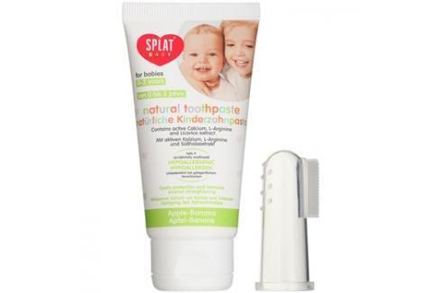 Splat Baby přírodní zubní pasta pro děti s masážním kartáčkem příchuť Apple/Banana 40 ml Bez fluoru
