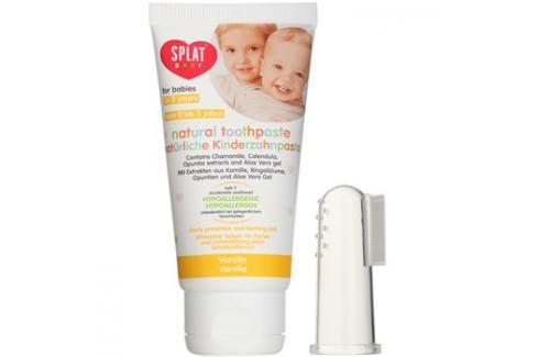 Splat Baby přírodní zubní pasta pro děti s masážním kartáčkem příchuť Vanilla 40 ml Bez fluoru