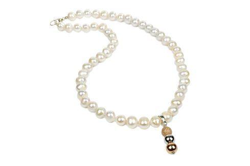 JwL Luxury Pearls Náhrdelník z bílých perel s přívěskem JL0056 Náhrdelníky