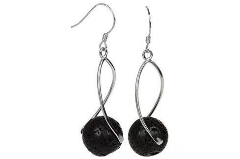 JwL Luxury Pearls Dlouhé stříbrné náušnice s černými lávovými kameny JL0280 Visací